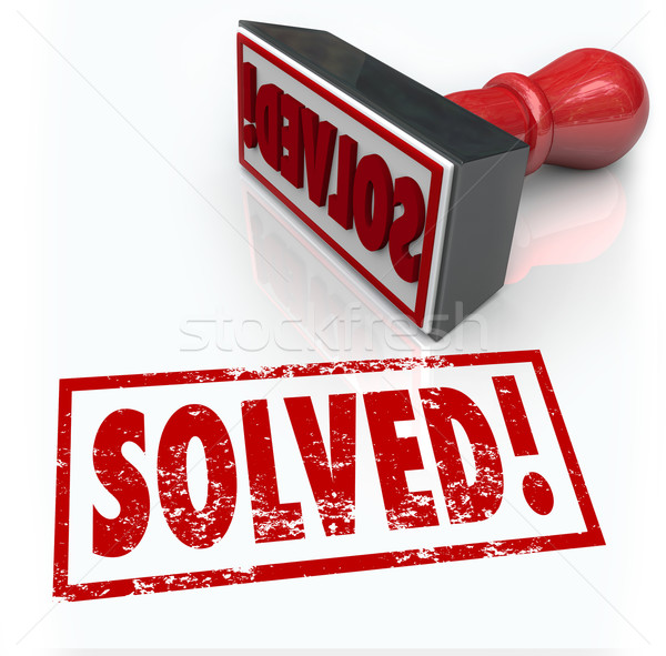 Solved Stamp Solution to Problem Challenge Overcome Stock photo © iqoncept