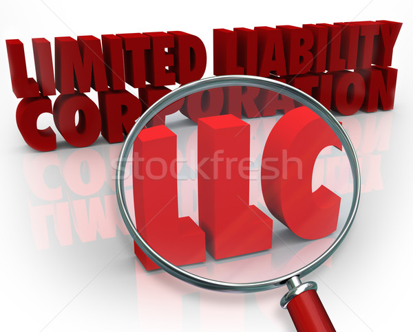 LLC Magnifying Glass Limited Liability Corporation Red Words Stock photo © iqoncept