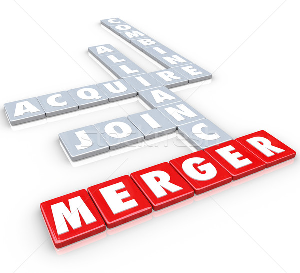 Merger Tile Words Acquire Join Alliance Combine Companies Stock photo © iqoncept