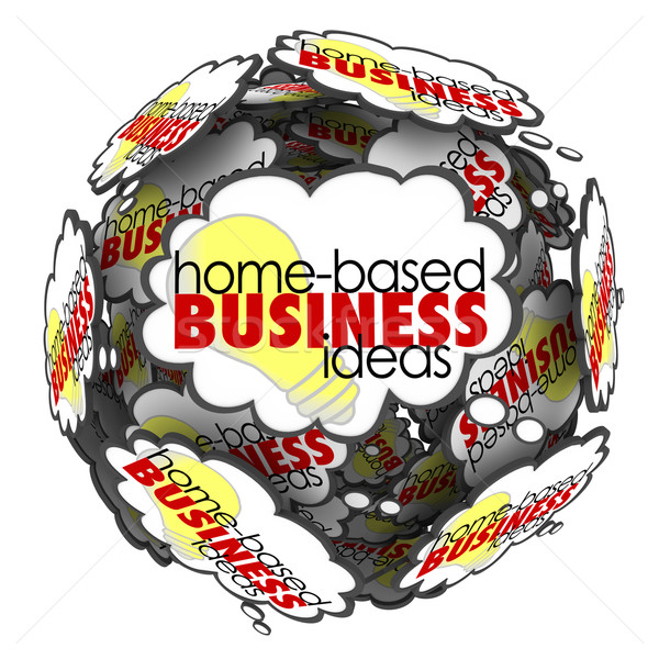 Home Based Business Thought Cloud Sphere Brainstorming Ideas Stock photo © iqoncept
