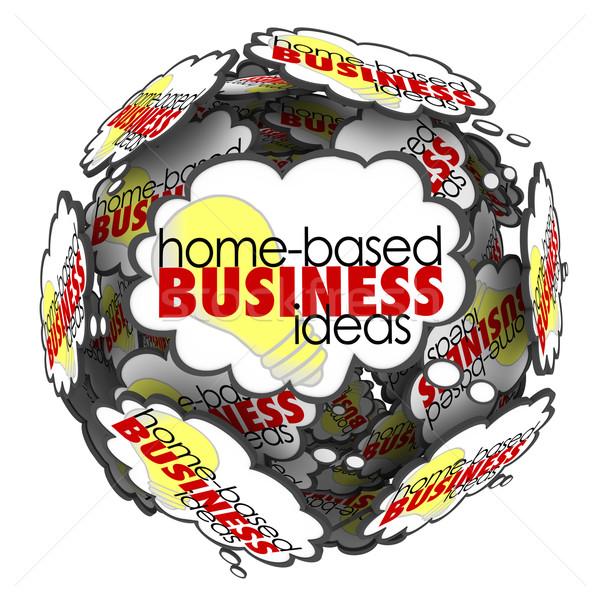 Сток-фото: домой · бизнеса · мысли · облаке · сфере · мозговая · атака