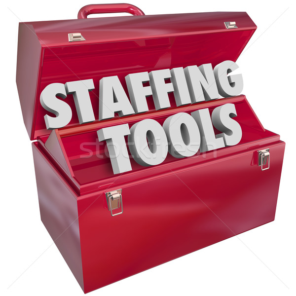 Staffing Tools Words in Red Toolbox Hiring Employee Job Resource Stock photo © iqoncept