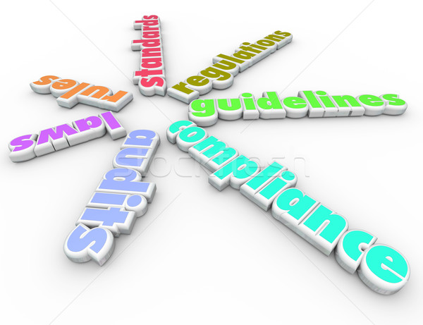 Compliance Words Spiral Pattern Rules Regulations Laws Guideline Stock photo © iqoncept