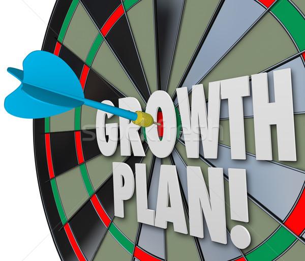 Növekedés terv szavak darts tábla közvetlen Stock fotó © iqoncept