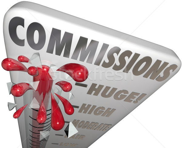 Commissions Word Thermometer Measure Money Earned Sales Stock photo © iqoncept