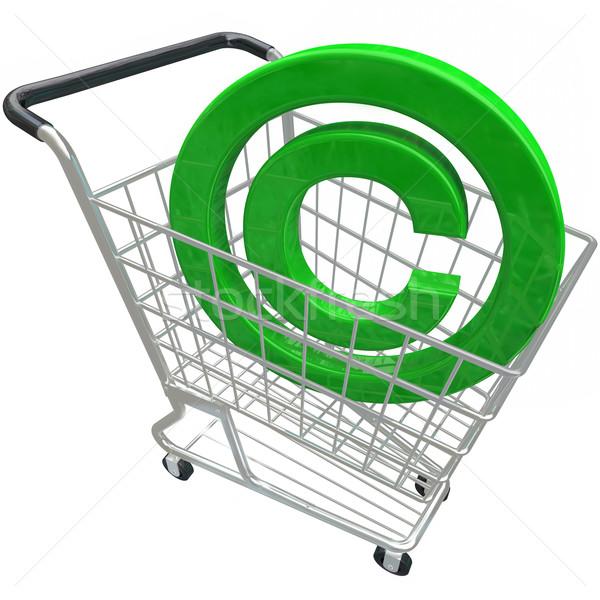 Foto stock: Direitos · autorais · símbolo · 3D · carrinho · de · compras · propriedade · intelectual · verde