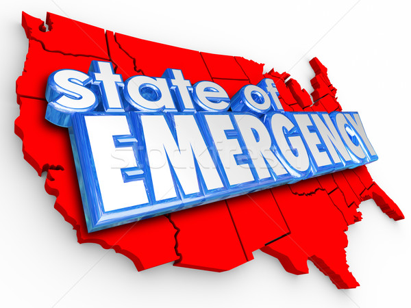 State of Emergency 3d Words United States America National Crisi Stock photo © iqoncept