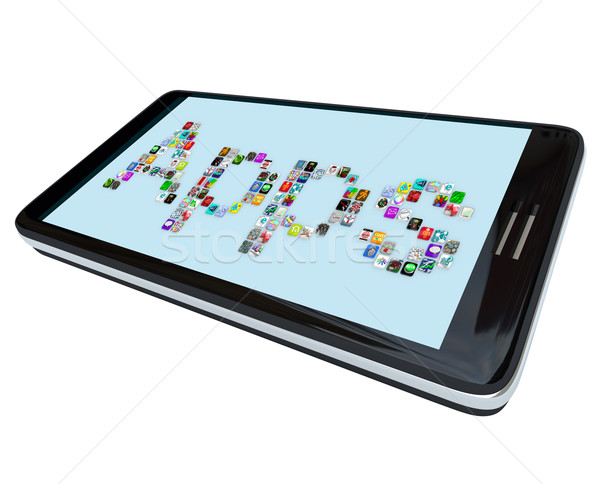 Apps - Tile Icons on Smart Phone Stock photo © iqoncept