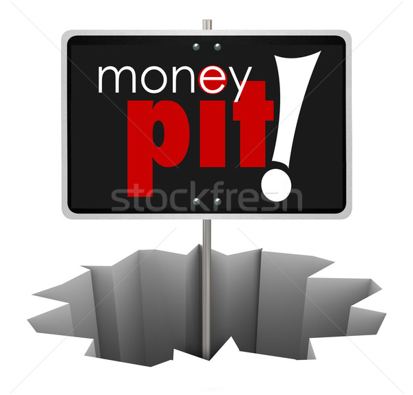 Money Pit Sign in Hole Wasteful Spending Bad Investment Stock photo © iqoncept