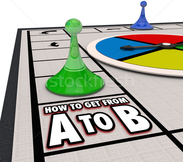 Stock photo: How to Get From A to B Board Game Travel Path Route Direction