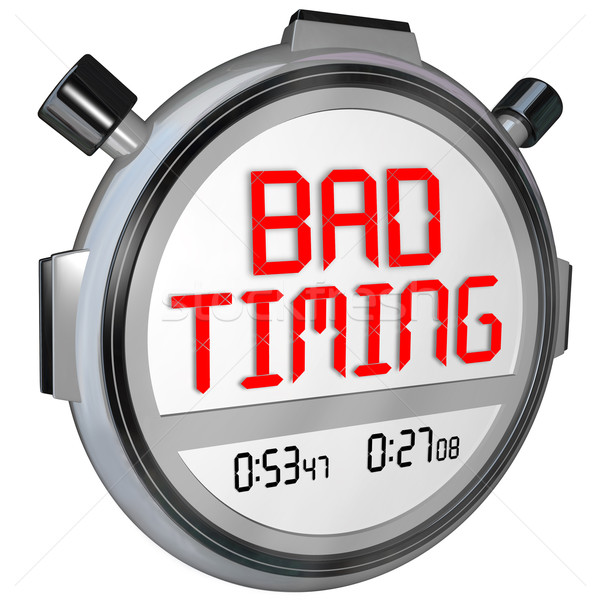 Bad Timing Words Timer Stopwatch Missed Opportunity Late Poor Sp Stock photo © iqoncept