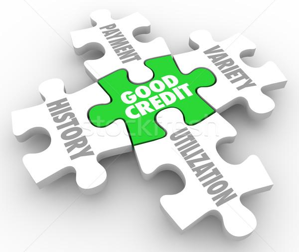 Good Credit Puzzle PIeces Factors Payment History Utilization Va Stock photo © iqoncept