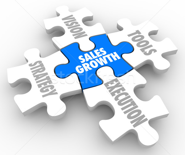 Sales Growth Puzzle Pieces Vision Strategy Tools Execution Stock photo © iqoncept