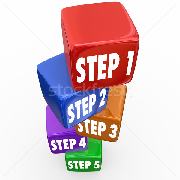 Step 1 2 3 4 5 Directions Instructions Cubes Blocks Tower Stock photo © iqoncept