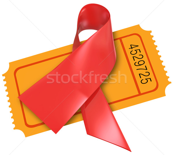 Red Heart Disease AIDS Ribbon Fund Raiser Ticket Charity Stock photo © iqoncept