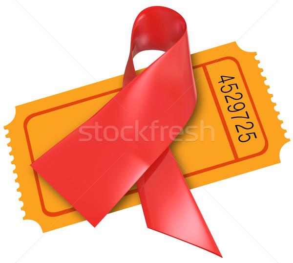 Vermelho doença cardíaca sida fita fundo bilhete Foto stock © iqoncept