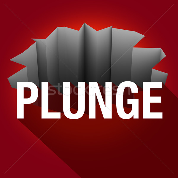 Plunge Word Long Shadow Hole Crack Falling Risk Stock photo © iqoncept