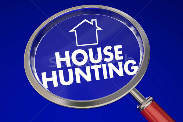 House Hunting Magnifying Glass Find Perfect Home Real Estate Age Stock photo © iqoncept