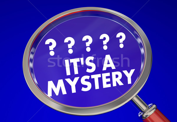Its a Mystery Magnifying Glass Find Clues Solve Words 3d Illustr Stock photo © iqoncept