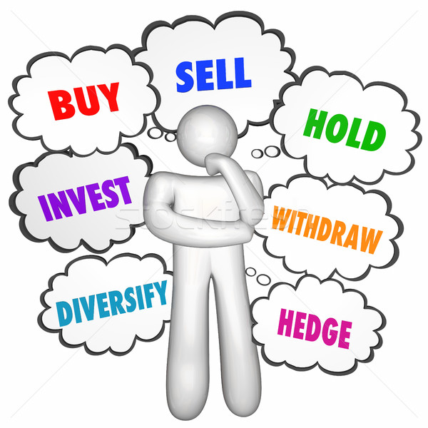 Buy Sell Hold Investments Thinker Thought Clouds 3d Illustration Stock photo © iqoncept