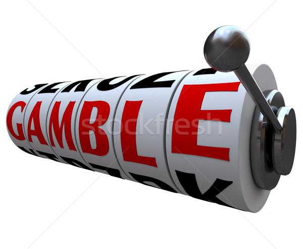 Jogar palavra caça-níqueis rodas linhas para cima Foto stock © iqoncept
