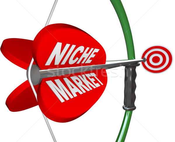 Nicho mercado arco flecha ojo palabras Foto stock © iqoncept