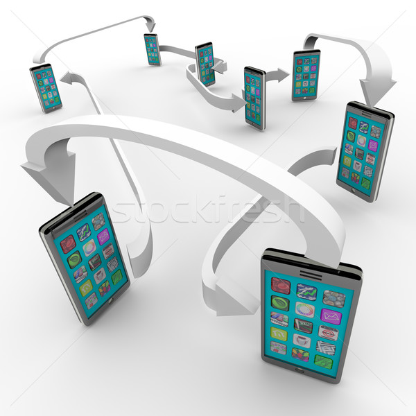 ストックフォト: スマート · 電話 · 携帯電話 · 通信 · リンク · 番号