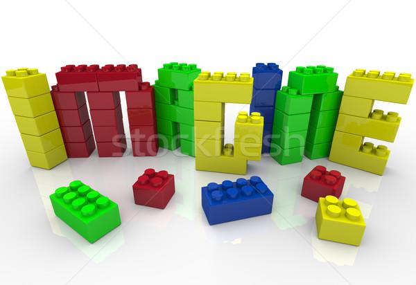 Imagine Word in Toy Plastic Blocks Idea Creativity Stock photo © iqoncept