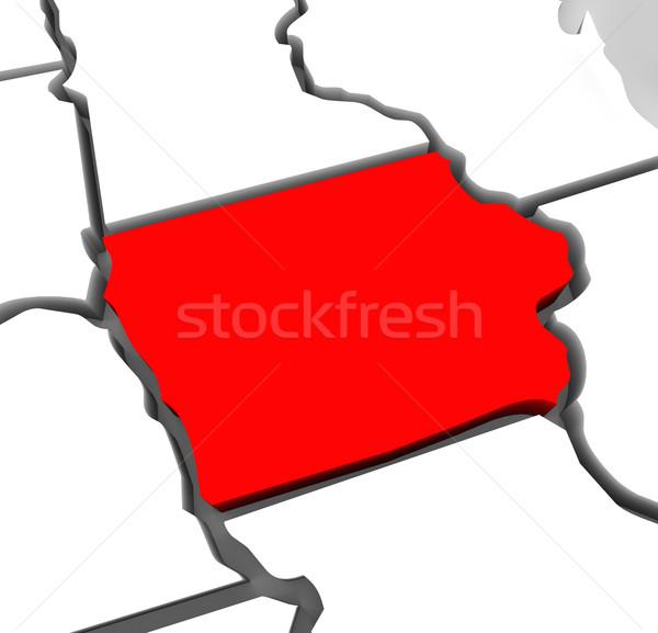 Iowa piros absztrakt 3D térkép Egyesült Államok Stock fotó © iqoncept