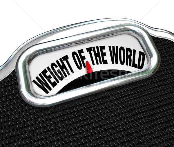 Weight of the World Scale Words Burden Trouble Stock photo © iqoncept