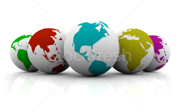 Line-up of Colorful Planet Earths Stock photo © iqoncept