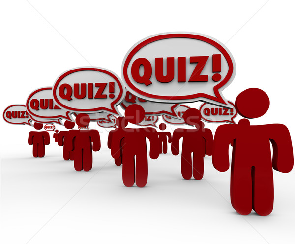 Quiz People in Class Speech Bubbles Test Exam Stock photo © iqoncept