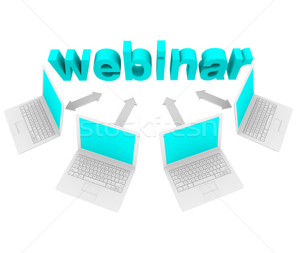 Webinar - Laptops Around Word Stock photo © iqoncept