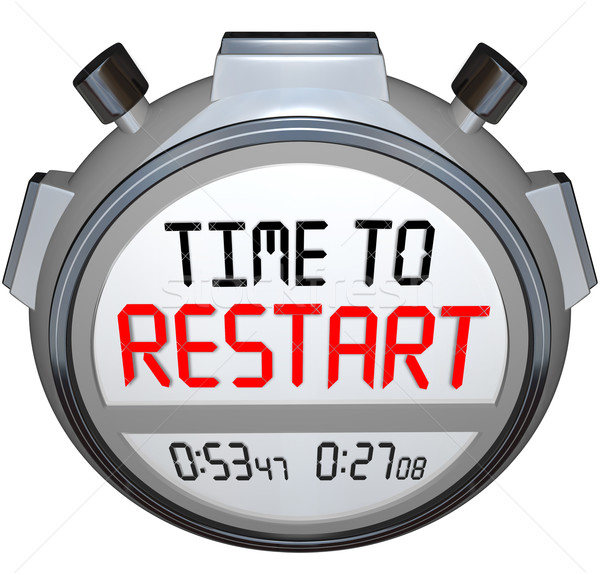 Stock photo: Time to Restart Stopwatch Timer Redo Refresh Reinvent