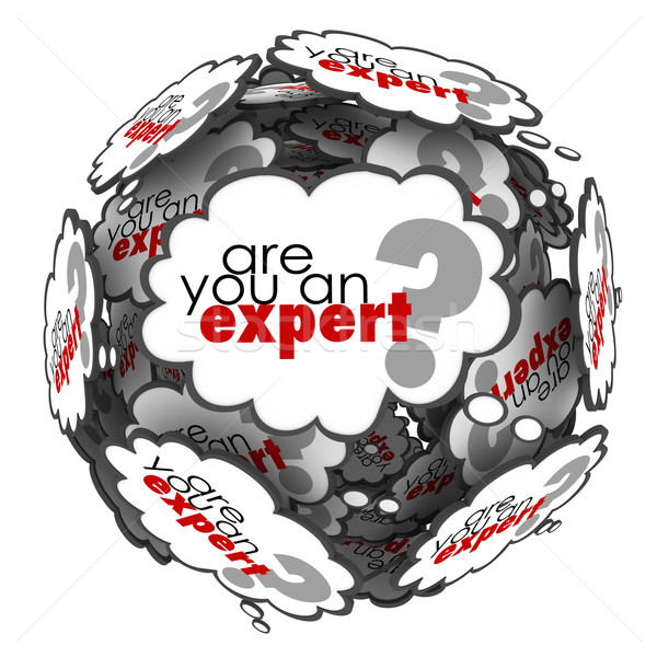 Stock photo: Are You an Expert Thought Cloud Words Knowledge Skills
