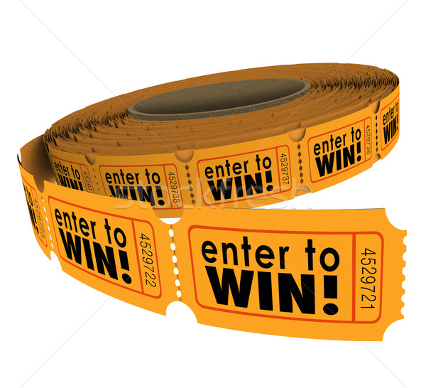Enter to Win Raffle Ticket Roll Fundraiser Charity Lottery Luck Stock photo © iqoncept