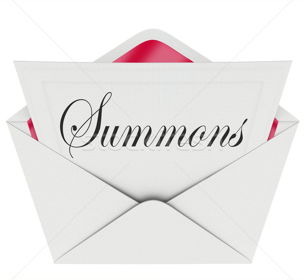 Stock photo: Summons to Appear in Court Letter Envelope Mail Legal Lawsuit Ca