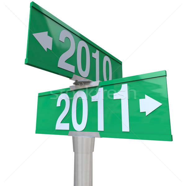 2010 Changing to 2011 - Two-Way Street Sign Stock photo © iqoncept