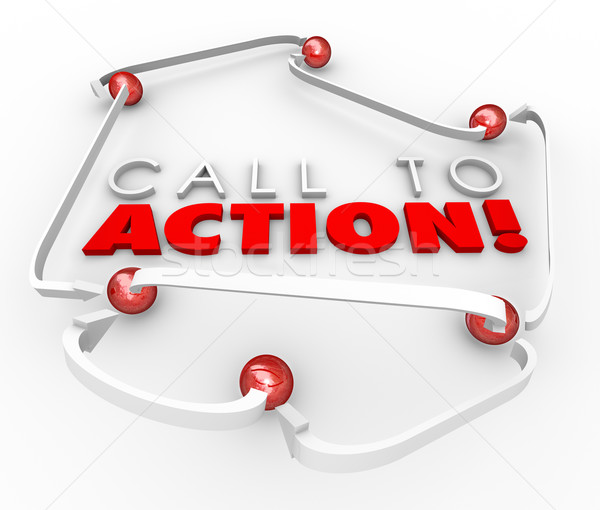 Call to Action System Network Connected Balls Marketing Advertis Stock photo © iqoncept