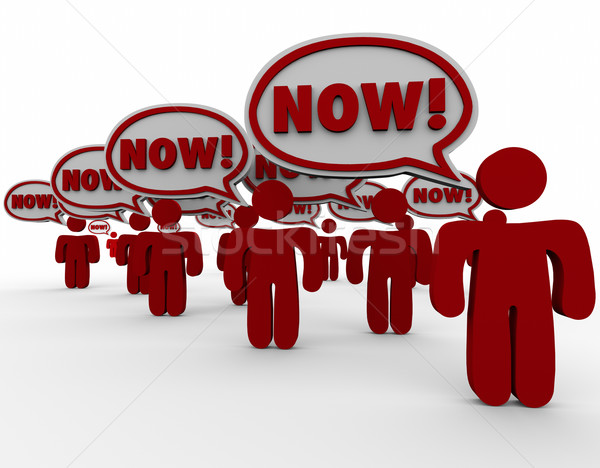 Now Customer Demand Speech Bubbles Urgent Need Fast Response Stock photo © iqoncept