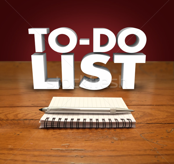 To Do List Notepad Words Organize Prioritize Jobs Tasks Projects Stock photo © iqoncept