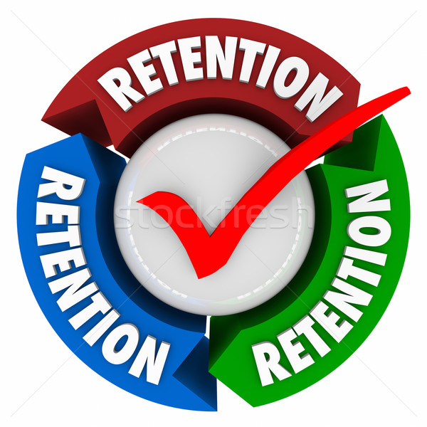 Stock photo: Retention Check Mark Box Keep Hold Onto Customers Employees