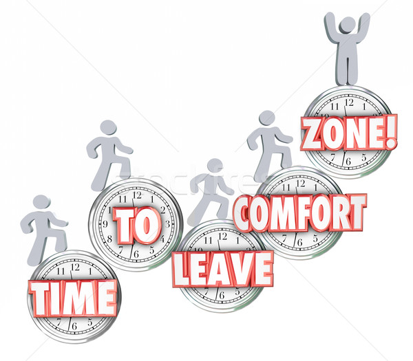 Time to Leave Your Comfort Zone Words Clock Marchers Stock photo © iqoncept