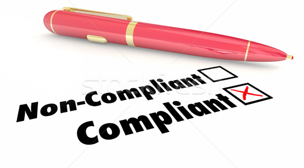 Compliant Check Box Pen Mark Non Compliance 3d Illustration Stock photo © iqoncept
