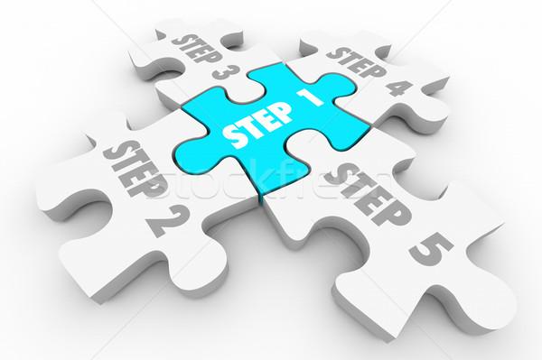 Schritt Puzzleteile Verfahren 3D-Darstellung Hintergrund Puzzle Stock foto © iqoncept