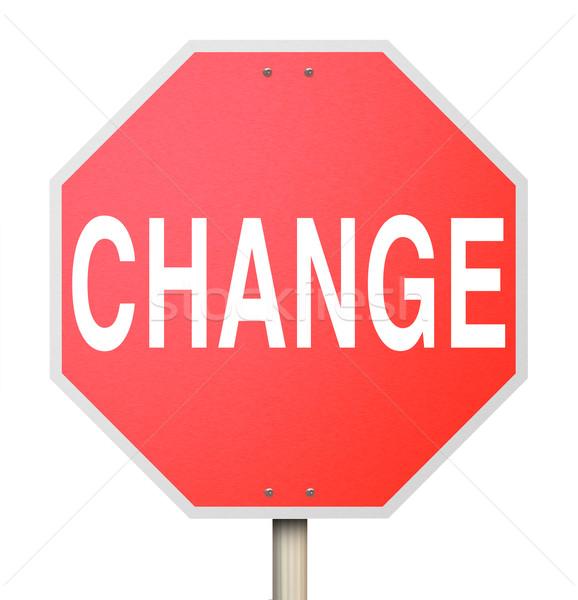 Change Word on Stop Sign - Isolated Stock photo © iqoncept