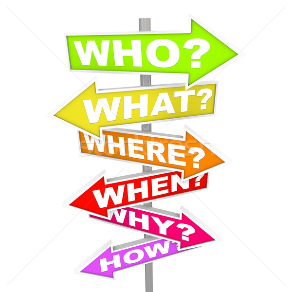 Questions on Arrow SIgns - Who What Where When Why How Stock photo © iqoncept
