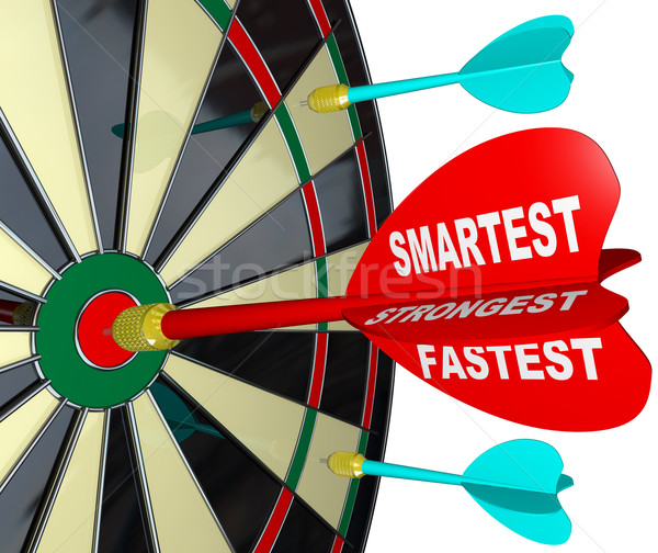 Smartest, Strongest, Fastest Wins the Competition - Dart Board Stock photo © iqoncept