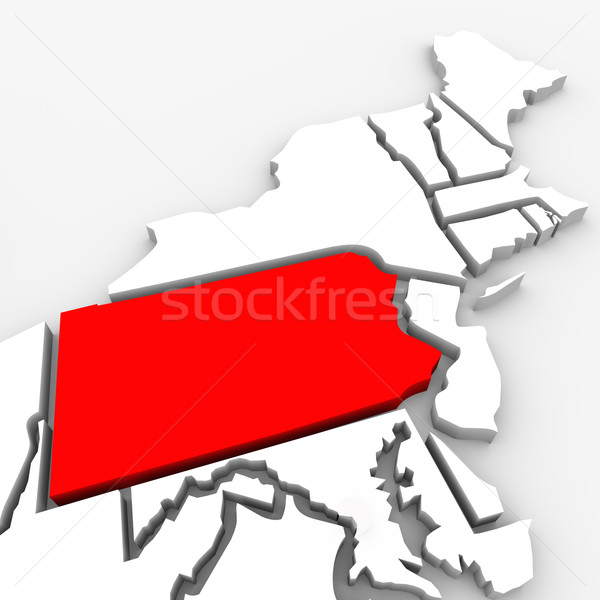 Pennsylvania Red Abstract 3D State Map United States America Stock photo © iqoncept