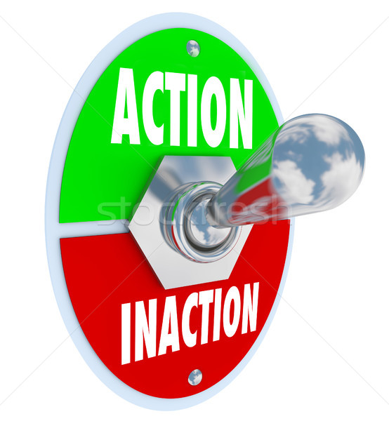 Stock photo: Action vs Inaction Lever Toggle Switch Driven Initiative